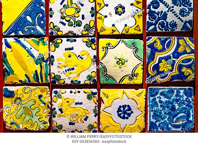Colorful Old Spanish Designs Patterns Tiles Templo Mayor Mexico City Mexico. Great Aztec Temple created from 1325 to 1521 when Cortez destroyed Aztec temple