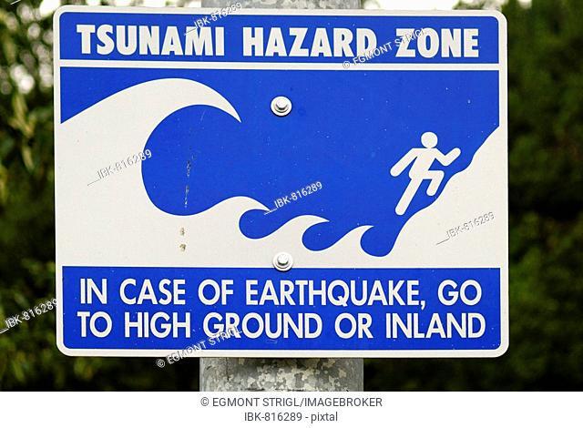 Tsunami hazard zone, warning sign, western coast of Alaska, USA