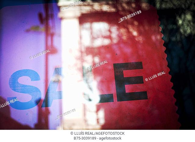 SALE, With reflections in a crystal of shop window. London, England