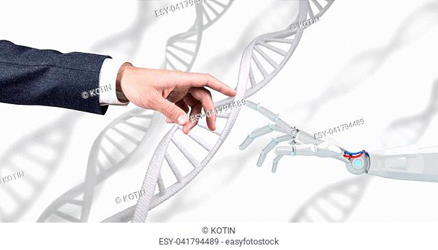 Robotic hand touches dna chain over white background. Futuristic concept. 3d rendering