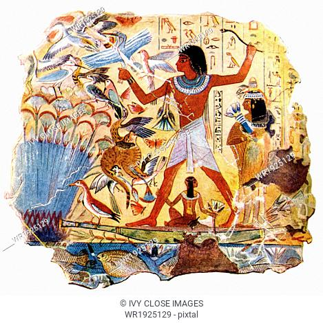 Detailed scenes of everyday life often decorated tomb walls in ancient Egypt. In this fresco from a tomb at Thebes, the deceased