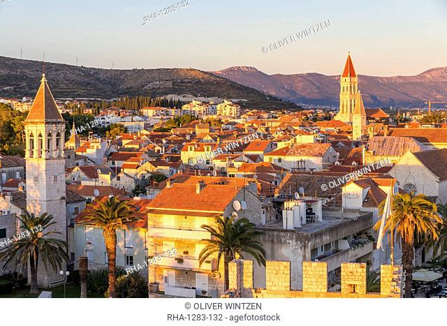 Elevated view from Kamerlengo Fortress over the old town of Trogir at sunset, UNESCO World Heritage Site, Croatia, Europe