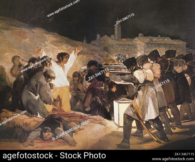 3rd of May 1808 in Madrid, the executions on Principe Pio hill, painted by Goya. Museo del Prado, Madrid