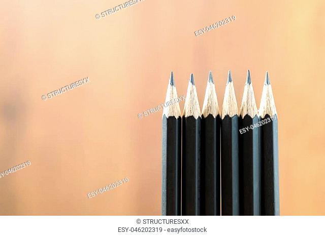 Close up pencil in row