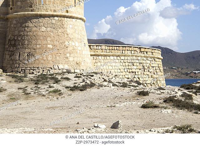 San Felipe castle Los Escullos in Cabo de Gata nature reserve, Almeria, Andalusia, Spain