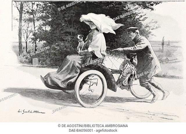 Difficult start, the life of the motorist, drawing by Louis Remy Sabattier from L'Illustration, No 3209, August 27, 1904