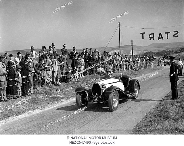 Bugatti Type 55 of CI Craig competing at the Bugatti Owners Club Lewes Speed Trials, Sussex, 1937. Artist: Bill Brunell