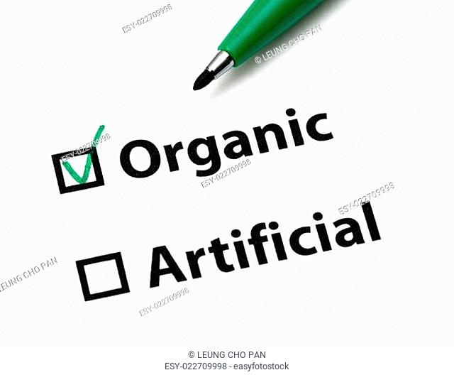 Organic or artificial concept for food