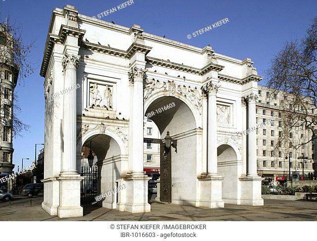 Marble Arch, triumphal arch in Oxford Street in London, England, Great Britain, Europe