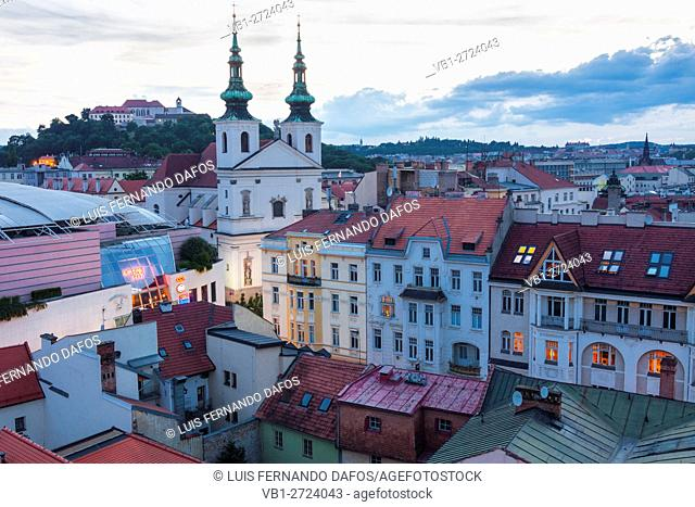 Overview at dusk with Dominican church and Spilberk castle. Brno, Czech Republic