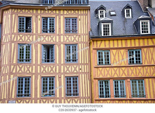 half timbered norman facades, Rouen, 76, Normandy, france