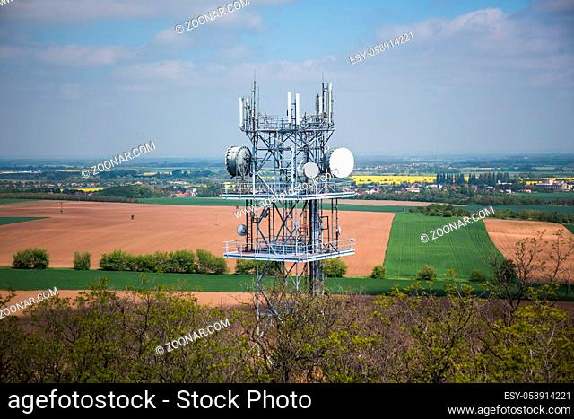 Telecommunication and Communication Tower Antenna, Cloud Sky., Technology 3G, 4G of Industrial Transmission Network. Engineering Connection