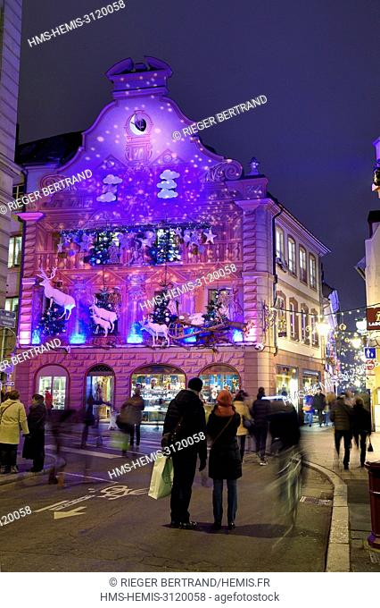 France, Bas Rhin, Strasbourg, listed as World Heritage by UNESCO, Christmas decoration on the Christian Meyer Pastry shop