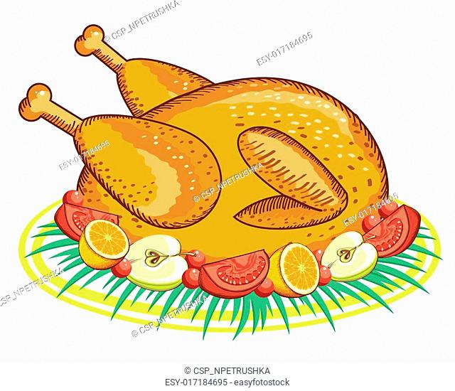Thanksgiving Turkey .Vector food isolated on white for design