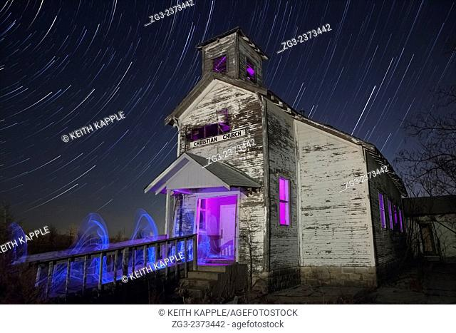 Star trails and light painting of Abandoned Christian Church in Picher Oklahoma