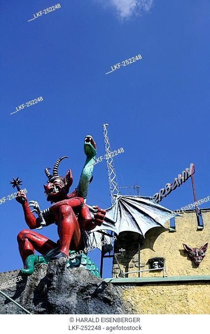 Devil sculpture at the Ghost Train, Amusement Park, Vienna Prater, Austria