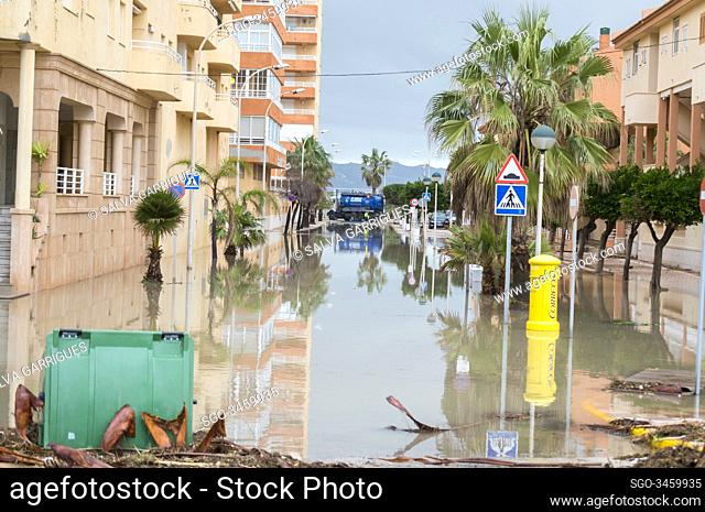 Tavernes de la Valldigna, Valencia, Spain, January 22, 2020. The streets of the urbanization seem to be rivers due to the flooding of sea water