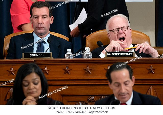 United States Representative F. James Sensenbrenner (Republican of Wisconsin), upper right, yawns during a US House Judiciary Committee hearing on the...