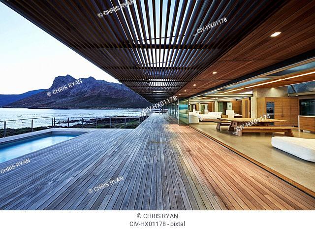 Modern luxury wood patio with ocean view
