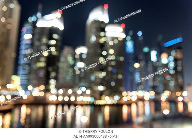 Illuminated skyscrapers, defocused