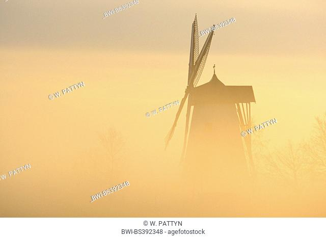 Windmill in the mist at sunrise, Belgium, Ardennes