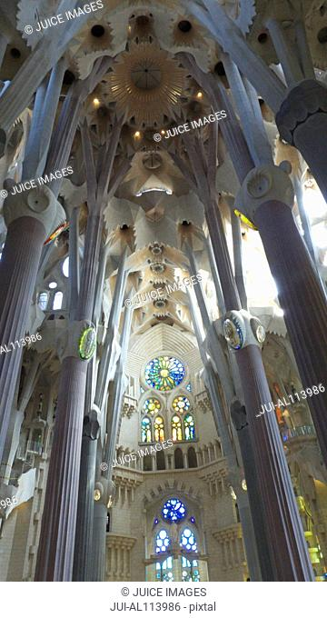 Interior view of Basilica Sagrada Familia, UNESCO World Heritage site, designed by Antoni Gaudi, Barcelona, Catalonia, Spain, Europe
