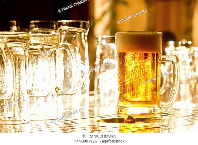 Glass of Famous Czech Beer in a Prague Pub
