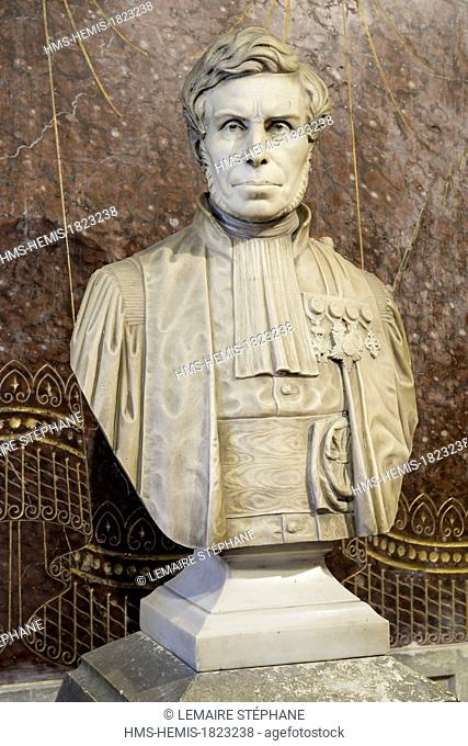 France, Seine Maritime, Rouen, Museum of Natural History, statue of Felix Archimede Pouchet, director and foundator of the Museum