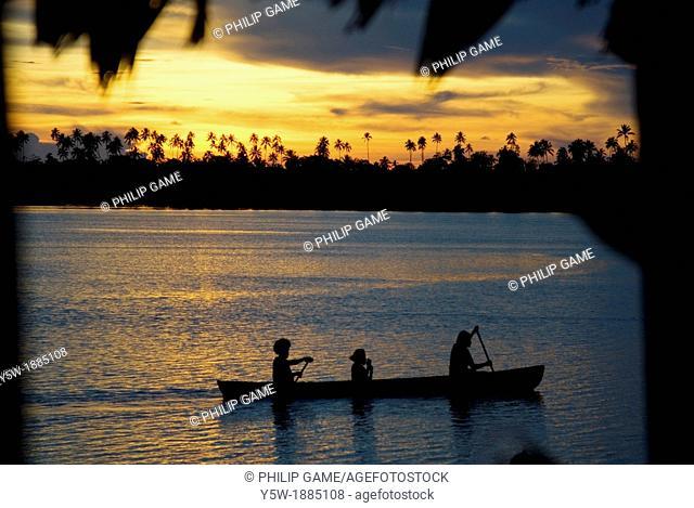 Sunset from Serah Kei's Lagoon Hideaway, Langalanga Lagoon, Malaita, Solomon Islands