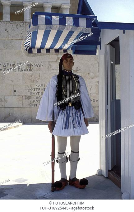 Athens, Parliament, Greece, Europe, Guard of Honor (evzones) standing at his post at the House of the Greek Parliament at Plateia Syntagmatos (Constitution...