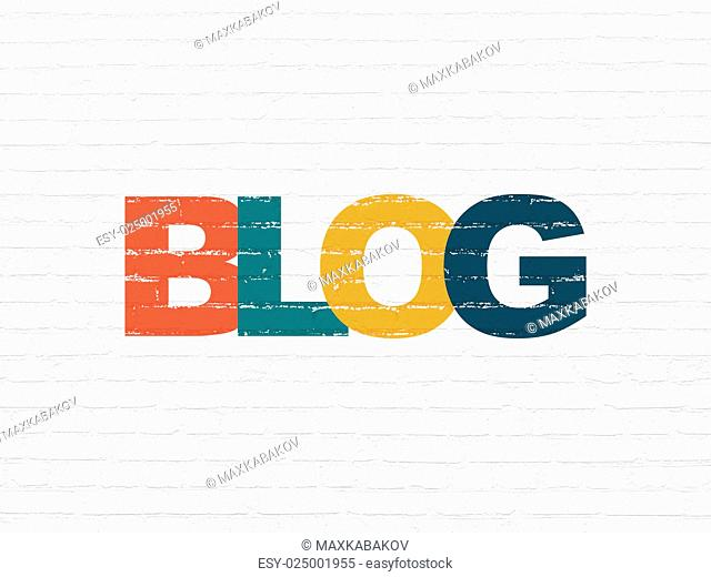 Web development concept: Painted multicolor text Blog on White Brick wall background, 3d render