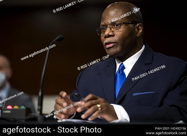 Ronald S. Moultrie appears before a Senate Committee on Armed Services hearing for his pending nomination to be Under Secretary for Intelligence and Security