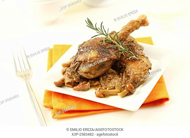 Roasted confit du canard with ham and mushrooms