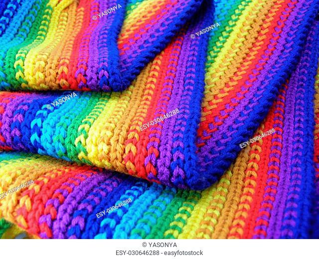 varicoloured woolen scarf pattern like color rainbow