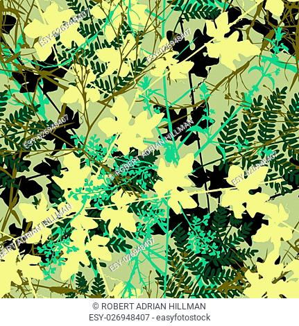 Editable vector seamless tile of tangled plants