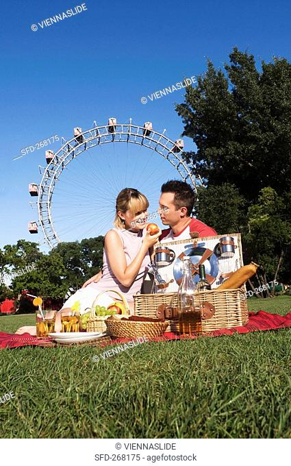 Couple picnicking in the Prater Vienna, Austria