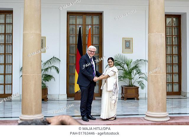 Indian Foreign Minister Sushma Swaraj greets German Foreign Minister Frank-Walter Steinmeier (SPD) in New Delhi, India, 08 September 2014