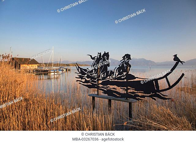 Boathouse and boats at the lake Chiemsee, Seeon-Seebruck, Chiemgau, Upper Bavaria, Bavaria, South Germany, Germany