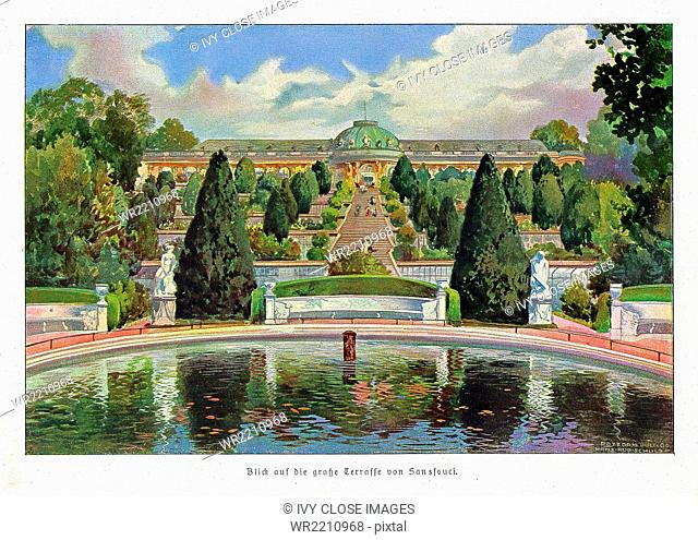 This illustration is taken from Agenda 1907 by Rudolph Hertzog. It shows the view from the Great Terrace at Sanssouci, the summer palace of Frederick the Great