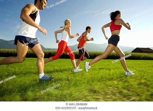 Men and women jogging