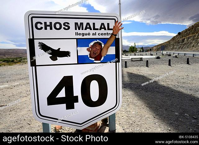Monument in the half of Route 40, Mitad Ruta 40, near Chos Malal, Neuquén Province, Patagonia, Argentina, South America