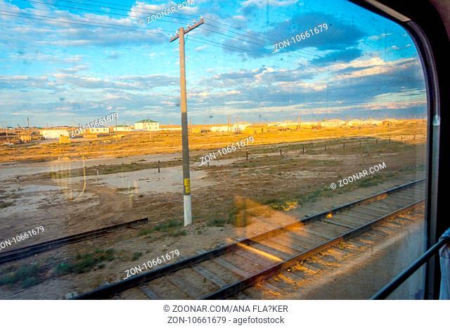 Small village thru the train window, Karakalpakstan autonomous region, Uzbekistan