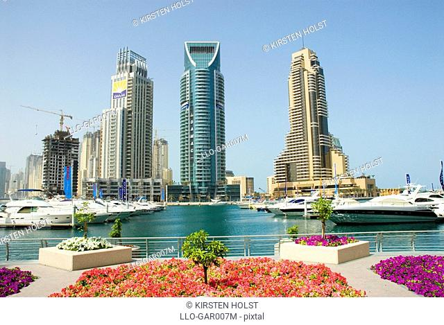 View Of the Harbour with Skyscrapers in Background  Dubai, United Arab Emirates