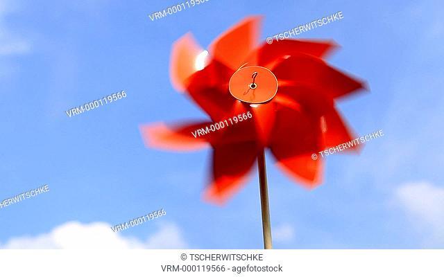 Red wind turbine
