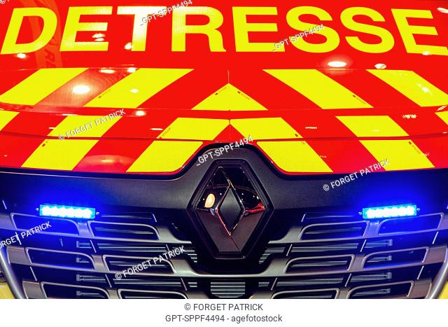 RED AMBULANCE FOR AIDING VICTIMS, 123RD NATIONAL CONGRESS OF FRENCH FIREFIGHTERS, TOURS, SEPTEMBER 2016