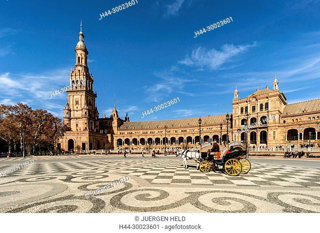 Placa de Espana, spanish square, carriage, Seville, Andalusia, Spain