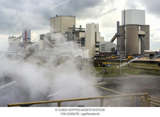 Beverwijk, Velsen, Netherlands. Huge, heavy industry terrain of TATA Steel, producing various kinds of steel and metal products, inside an old