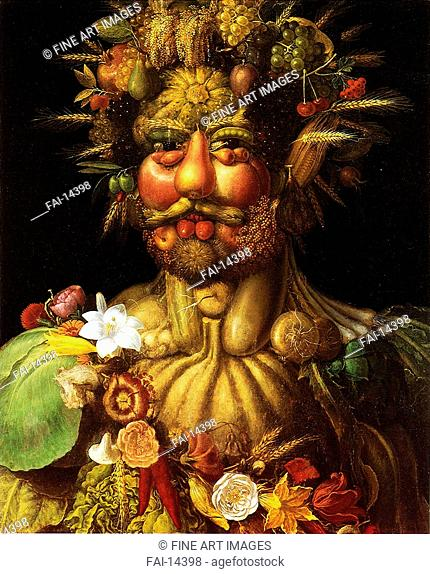 Vertumnus (Portrait of Rudolf II). Arcimboldo, Giuseppe (1527-1593). Oil on canvas. Mannerism. 1590. Statens porträttsamling, Gripsholm Castle