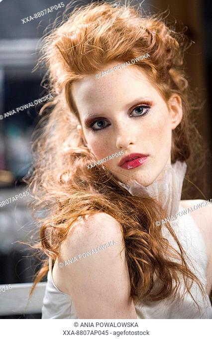 red hair woman with makeup