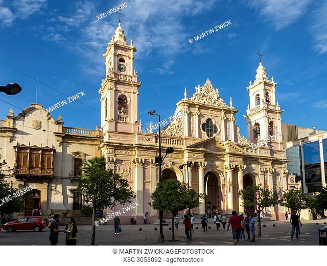 Salta Cathedral (Santuario Nuestro Senor y la Virgen del Milagro). Town Salta in the north of Argentina located in the foothills of the Andes